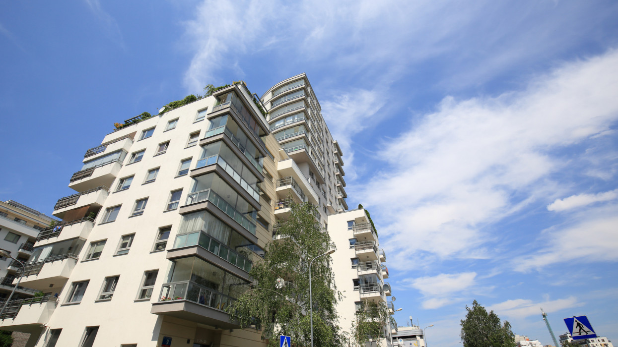 Warsaw, Poland - June 26, 2020: Apartment building. This view is just a detail that shows a large Goclaw housing estate where many people live in a large number of houses built close together. Warsaw is the capital of Poland but it is also an important cultural, political and economic hub.