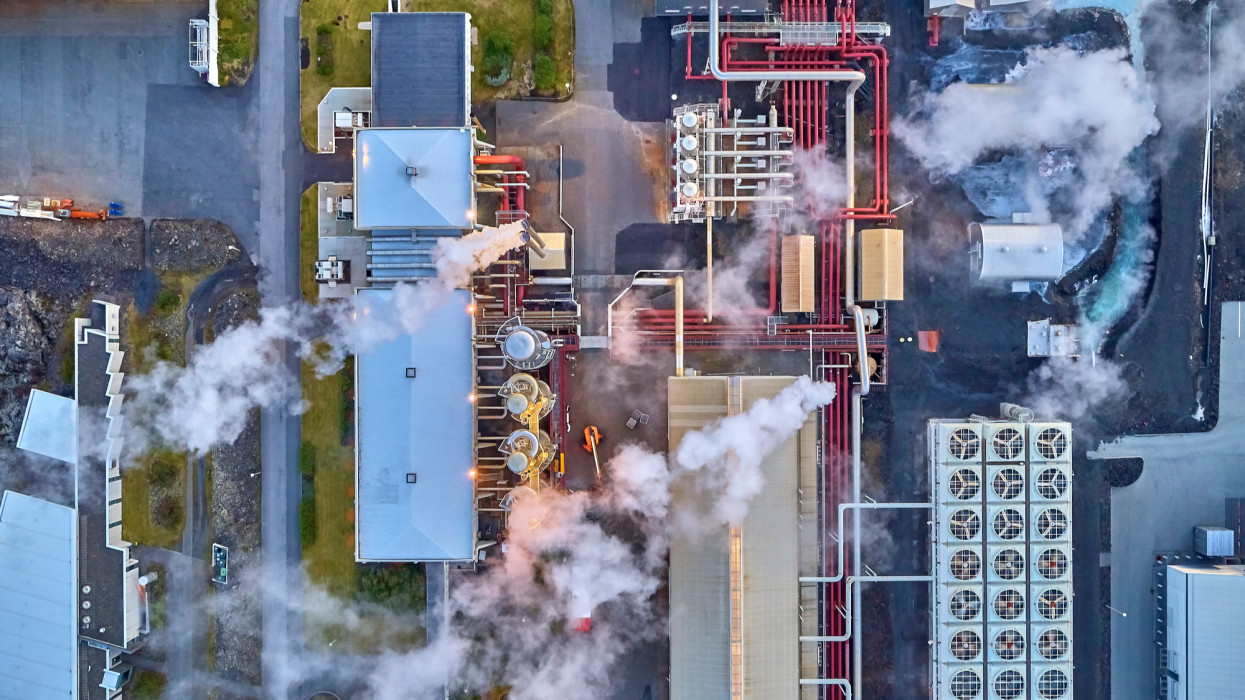Steaming pipes at Svartsengi Geothermal Power Plant. This image is shot using a drone.
