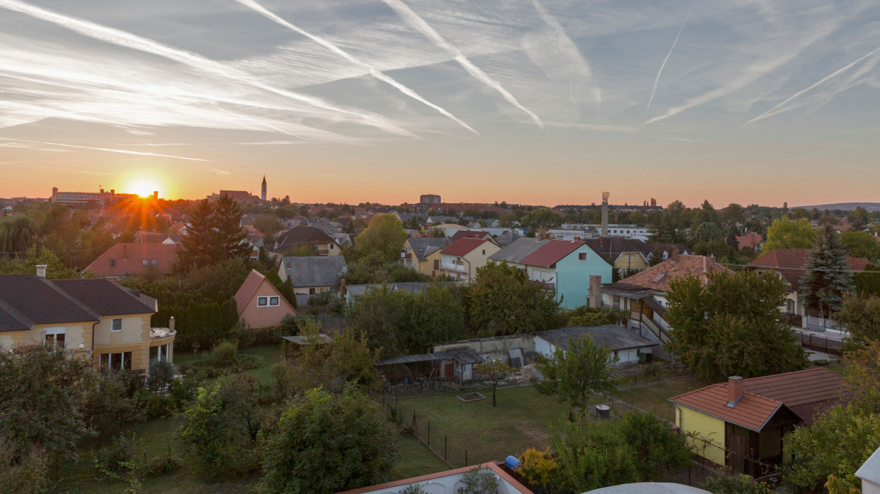 Keszthely autumn sunset cityscape with dramatic sky in Hungary. Typical hungarian building and houses, view from above.