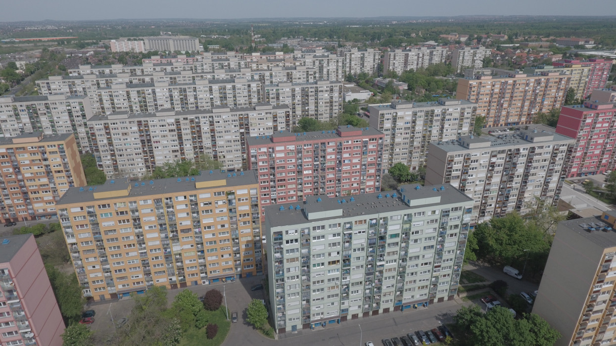 Budapest, Hungary, April 23, 2016: Aerial view of socialist era prefabricated panel blocks in Hungarian capital.