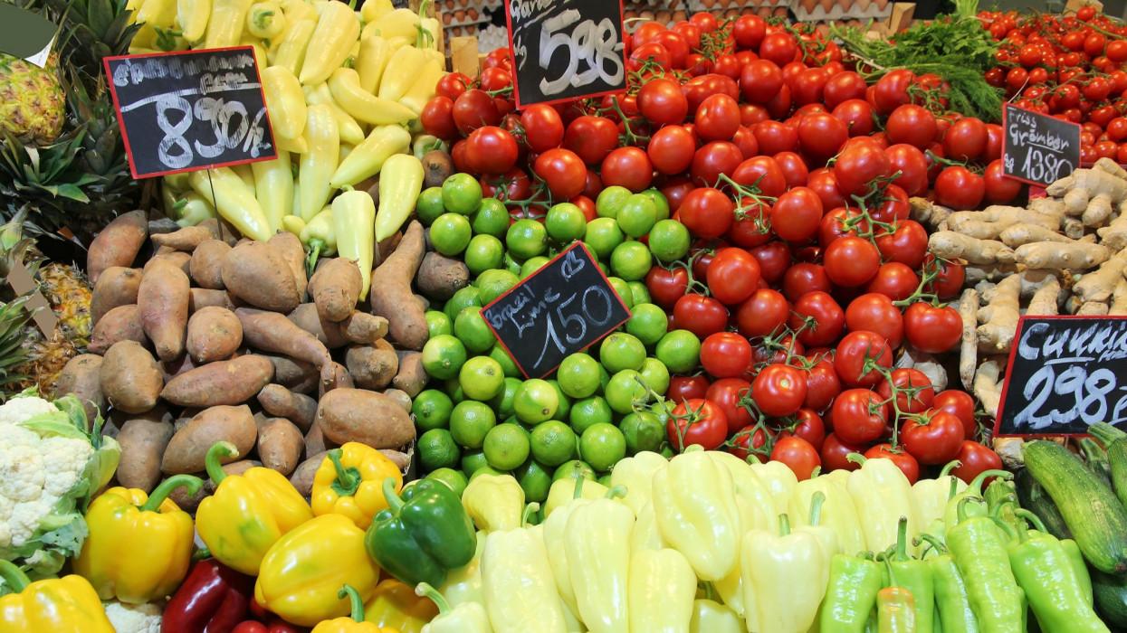 Food market in Budapest, Hungary (Great Market Hall). Fresh produce marketplace.