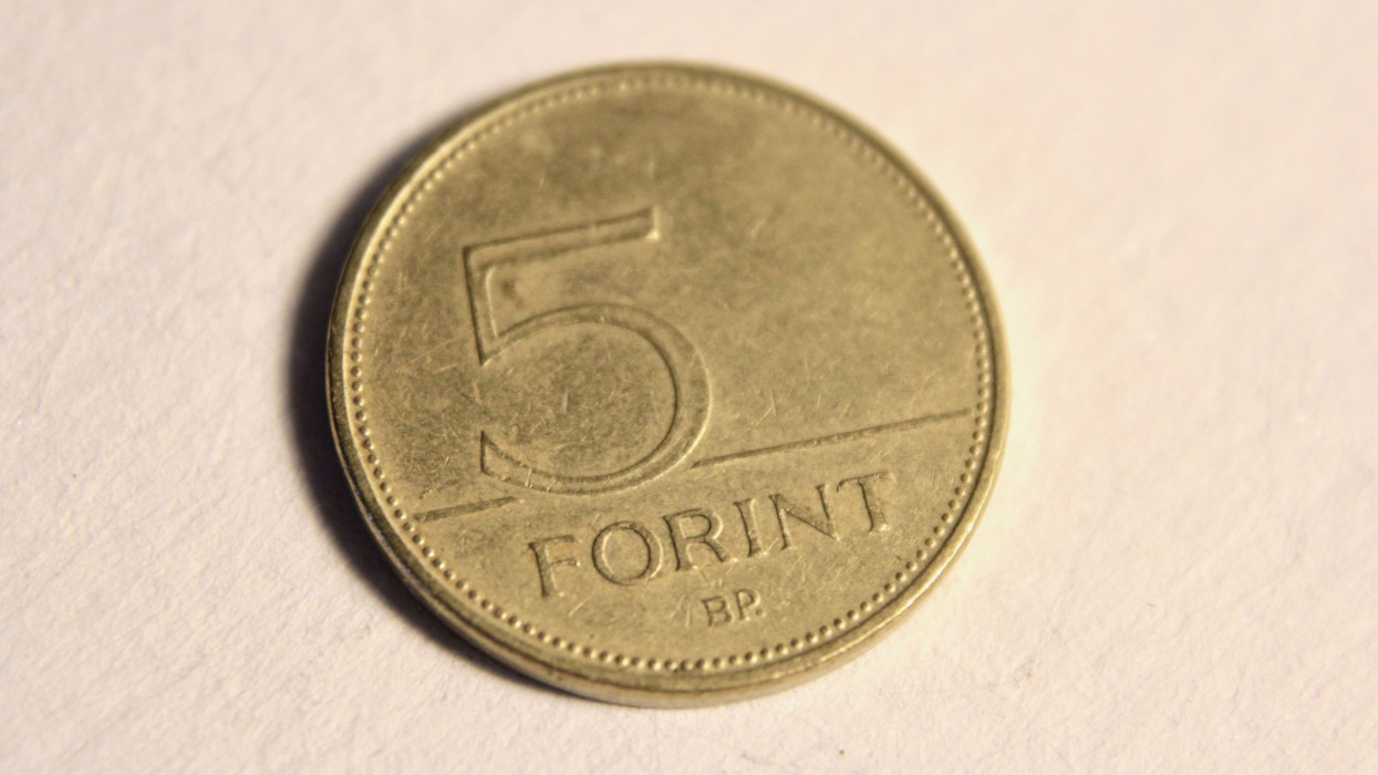 Close up of a Hungarian 5 Forint coin.