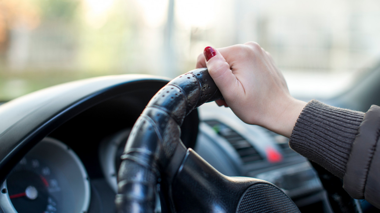 Woman Hand Driving Car With Space For Text