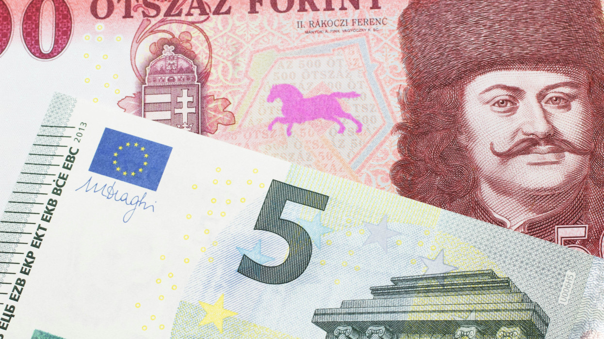 A close up image of a red, one hundred Hungarian forint bill close up with a blue and green five euro note from Germany in macro