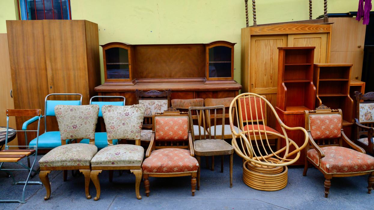 Vintage furniture on the Flea Market